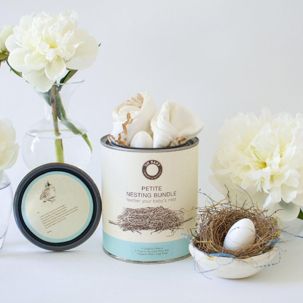 """Petite Nesting Bundle #1 Onesie, Knotted Hat and a Robins egg soap """"Some Bunny Loves You"""""""